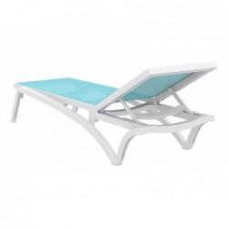Transat Costa Turquoise Et Blanc De 35x193x68 Cm   Piscineshorssolweb