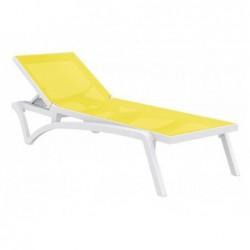 Transat Costa Couleur Blanc Et Jaune De 35x193x68 Cm